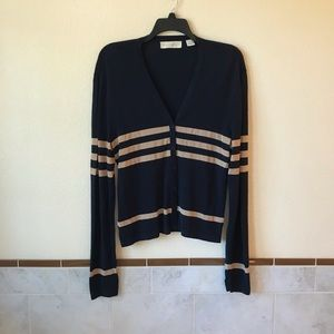 Womens Stretch Navy Cardigan Sweater Oversized